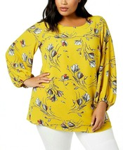 Alfani Top Blouse Golden Black Size 0X Plus Floral Long Sleeve NEW LL378 - $48.00