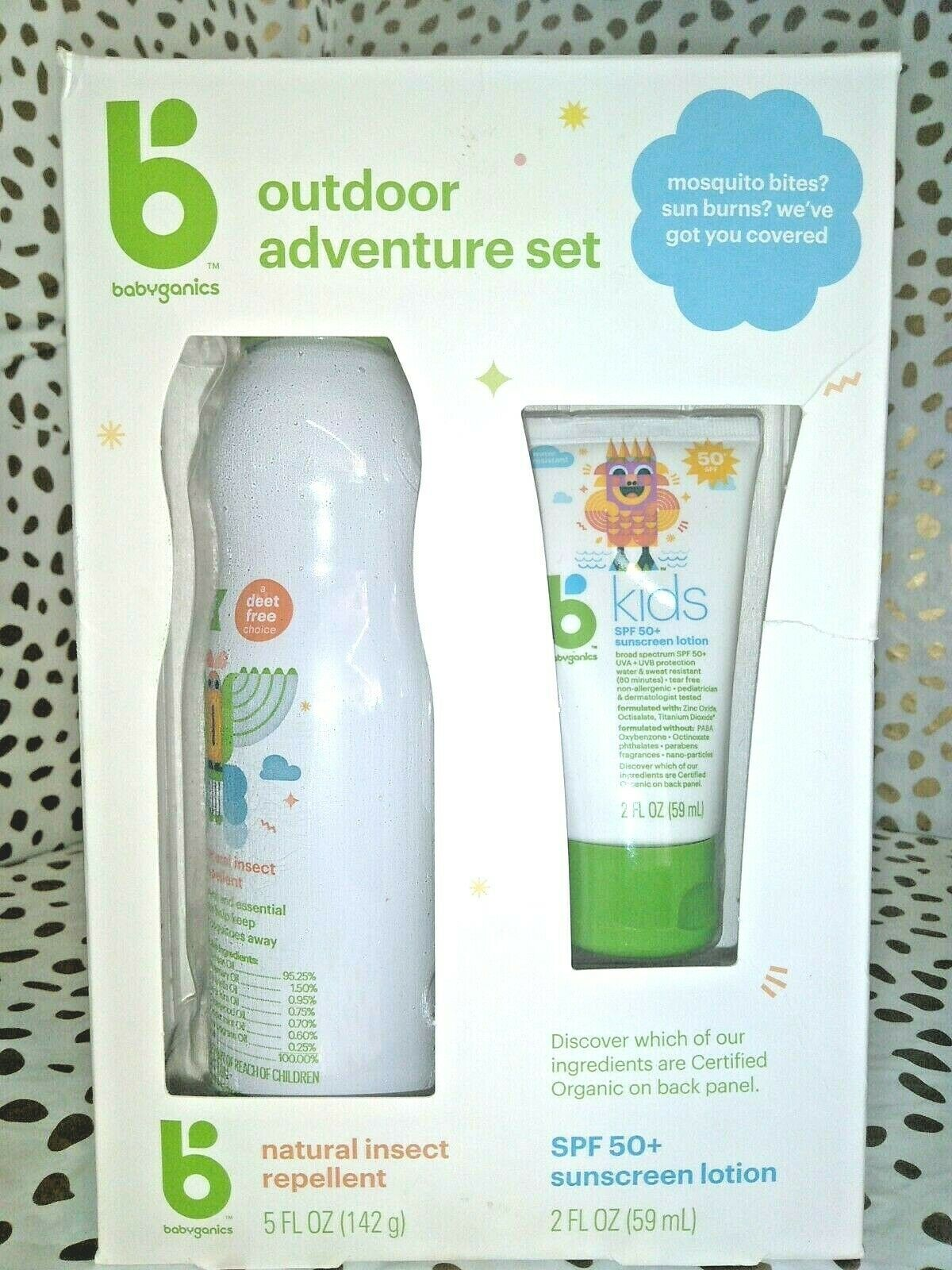 Babyganics 5oz Repellant and 2oz Sunscreen Duo -EXP 01/2022  SEALED NEW -STORE -