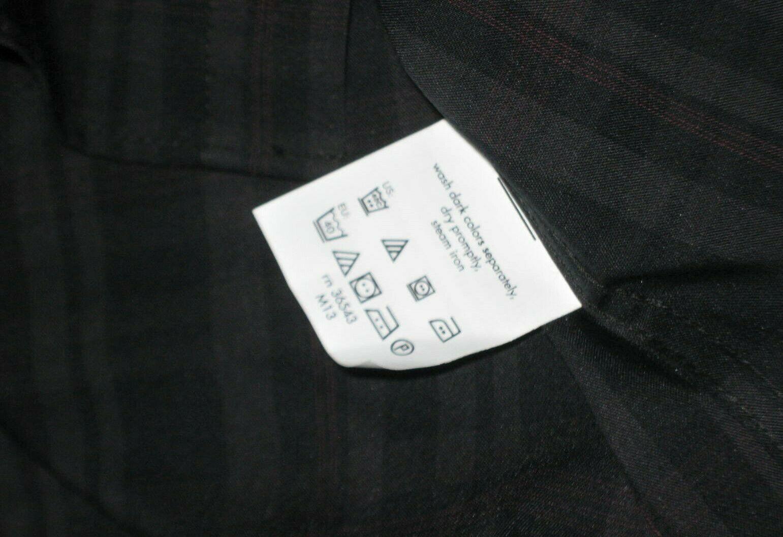 Kenneth Cole Reaction Techni-Cole Slim Fit Shirt Gray Plaid Garnet 15.5 x 32-33