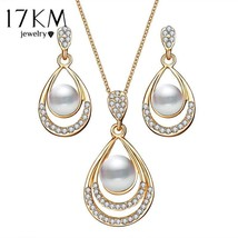 17KM® 2 pcs/set Brinco Simulated Pearl Jewelry Sets Women Oval Necklace ... - $5.57