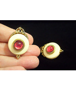 1928 PINK Cream Gold Plate Victorian Style Clip Earrings USA - $22.76