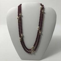 Vintage Avon 1970s Purple Simulated Pearls Beaded Necklace - $20.00