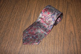 Men Men's Neck Tie Editions Van Heusen Burgundy Green Floral - $7.84