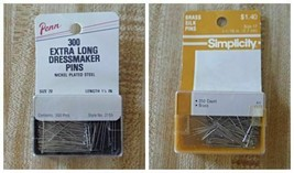 300 Extra Long Dressmaker Pins-Size 20 or Simplicity 250 Ball Point pins Size 17 - $1.25