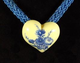 BLUE FLORAL HEART Pendant Choker NECKLACE Vintage Braided Cording Silver... - $12.99