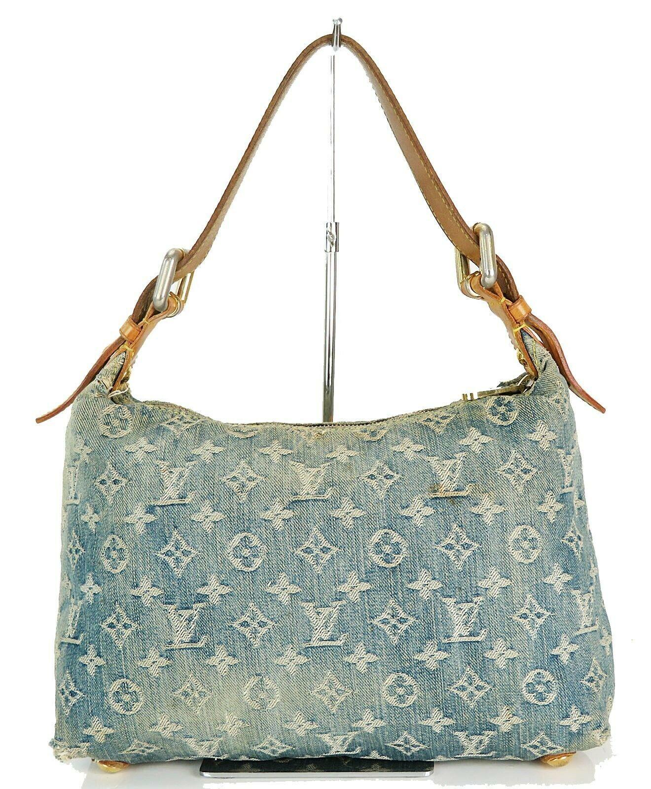 Authentic LOUIS VUITTON Baggy PM Blue Denim Shoulder Tote Bag Purse #34953 image 4