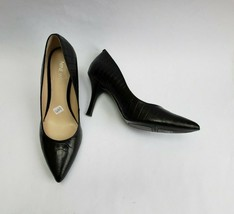 Nine West Shoes Heels Pumps Croc Embossed Black Pumpitup Womens Size 6 M - $49.49