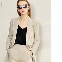 Women Lapel Coat Half Solid Short Pant Suit image 4