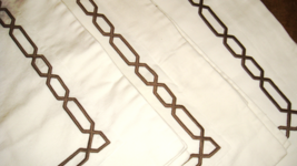 Pottery Barn 3 Brownstone Chain Stitch Embroidered White Standard Pillow Shams - $59.37
