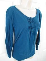 Eddie Bauer Blue Blouse Women's Medium 100% Cotton Sleeve Buttons up to 3/4 EUC - $11.45