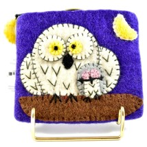Wild Woolies Handmade Felted Wool Snow White Night Owl Coin Purse Bag Made Nepal image 2