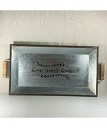"""Home Sweet Home Metal Tray Wood Handles 18"""" x 10"""" Galvanized Tin Better ... - $14.84"""
