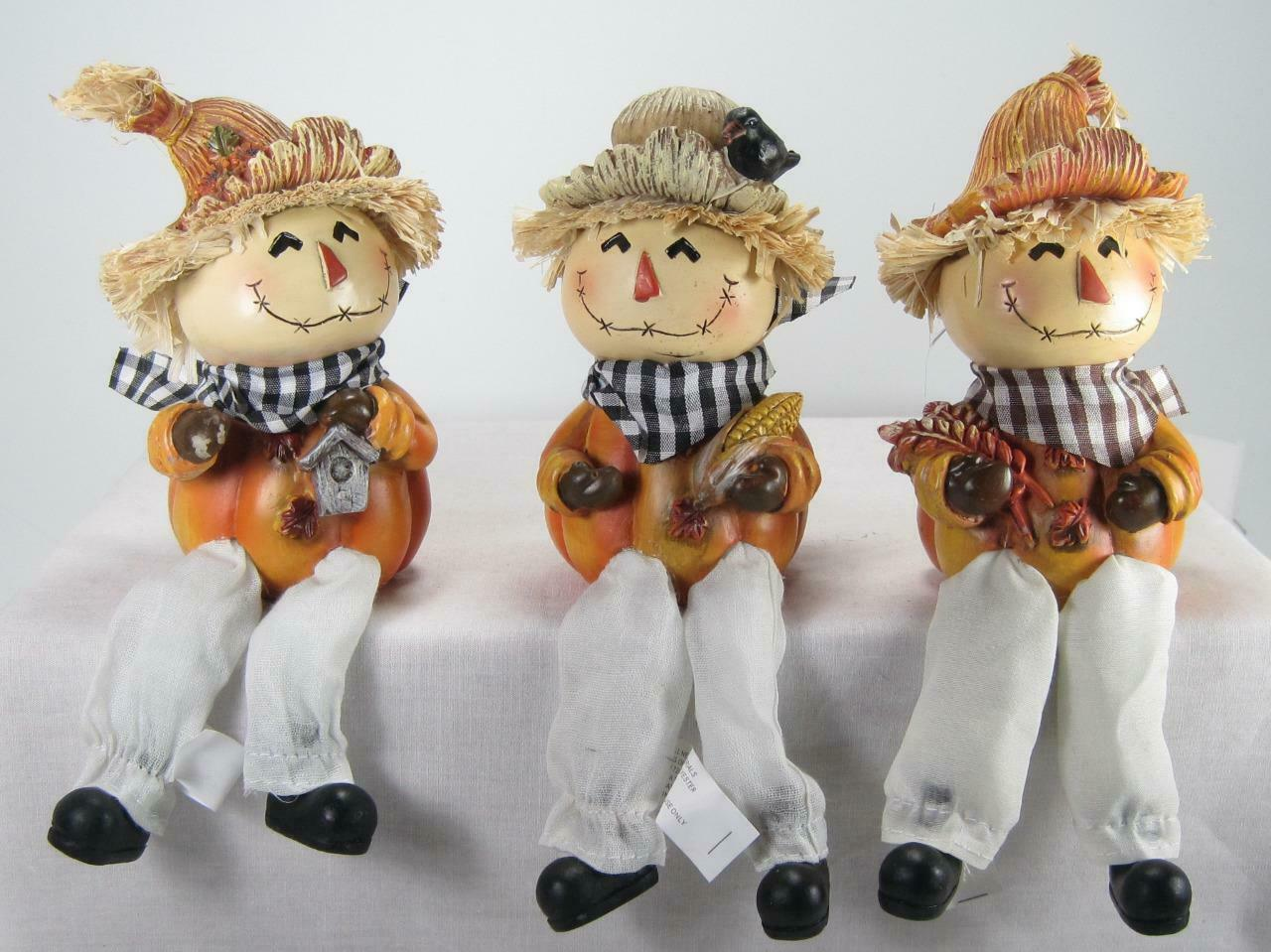 Primary image for Scarecrow Shelf Sitters Fall Halloween Tabletop Decor Set of 3