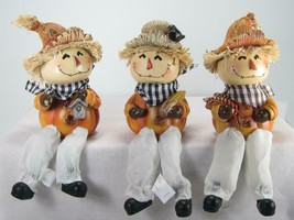 Scarecrow Shelf Sitters Fall Halloween Tabletop Decor Set of 3 - $26.68