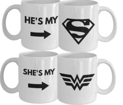 His and Her Mugs - Superman and Wonder Woman Relationship Coffee Mugs - ... - $29.90