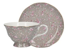 """Katie Alice """"ditsy Floral"""" Fine Bone China Grey Cup And Saucer By Creati... - $25.99"""