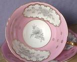 Vintage Mid Century EB Foley pink white grey rose bone china tea cup teacup