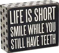 """Primitives by Kathy 21238 Polka Dot Trimmed Box Sign, 4"""" x 5"""", Life is Short - $13.17"""