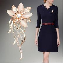 Gold Color Flower With Opal Stone Brooch Pin - $11.66