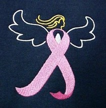 Breast Cancer Sweatshirt S Awareness Embroidered Pink Ribbon Angel Navy ... - $26.16