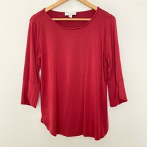 Amour Vert Stitch Fix M Medium 3/4 Sleeve Scoop Neck Pullover Shirt Top Red - $22.06