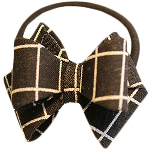 Fashion Hair Bands Bowknot Hair Rope Hair Accessories(Black Grid)