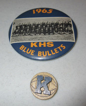 Vintage 1965 Knoxville Blue Bullets Picture Button Pin 2 Pins Total Illi... - $9.99
