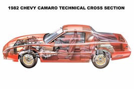 1982 Chevy Camaro Technical cross section  24 x 36 INCH sports car - $18.99