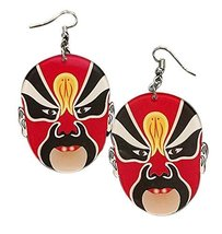 Creative Interesting Earrings Exaggerated Chinese Make-up in Opera Earrings, Red