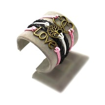 Bracelet infinity Love tree heart infinity pink black - $4.93