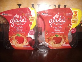 Glade PlugIns Scented Oil refills COZY CIDER SIPPING Apple Cinnamon Nutm... - $14.60