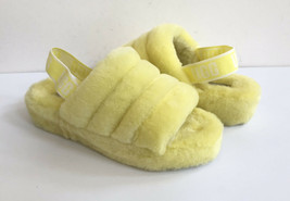 UGG FLUFF YEAH SLIDE NEON YELLOW MOCASSIN SLIP ON SANDAL US 12 / EU 43 /... - $111.27