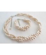Blush pink Braided 3 strand Necklace and Bracelet, Wedding Jewelry set - $35.00