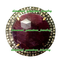 35.25c ROSE CUT DIAMOND REAL RUBY ANTIQUE VICTORIAN VINTAGE 925 SILVER RING - $190.39