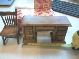 Dollhouse Miniature Chair & Desk 7 Drawers Opening 1:12 Scale Walnut Finish - $19.30