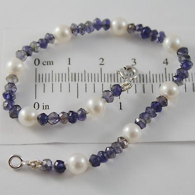 18K WHITE GOLD BRACELET 7.5 INCH WHITE 5 MM PEARLS AND BLUE IOLITE MADE IN ITALY