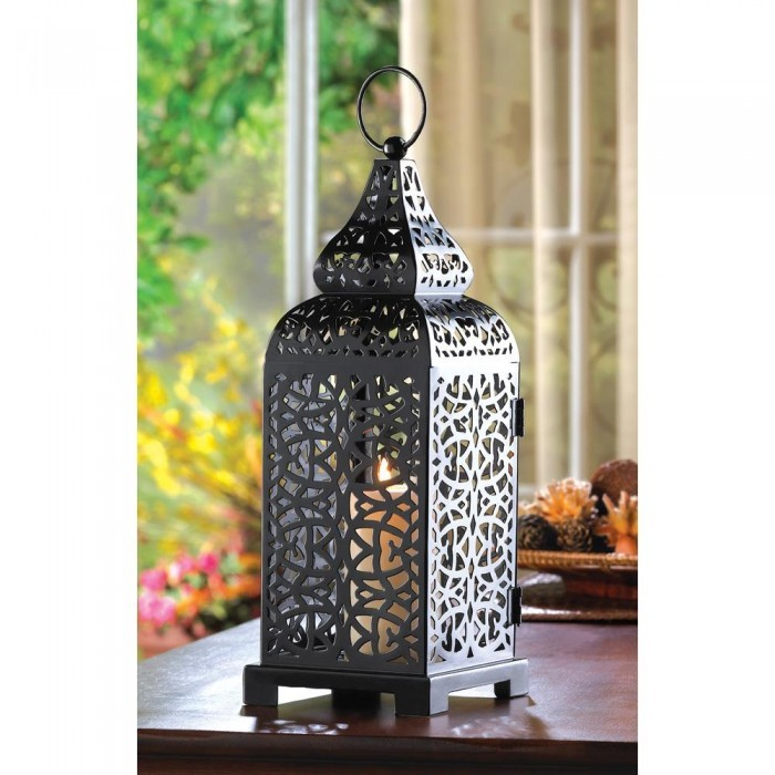 Black MOROCCAN TOWER CANDLE LANTERN
