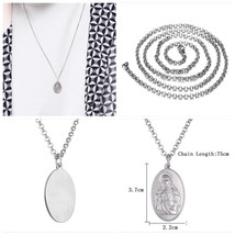 Men's Stainless Steel St Mary Pendant  Medium Chain Necklace Silver UK S... - $22.07