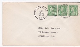 Franklin Texas January 17 1933 On 1C Franklin Stamp - $2.98