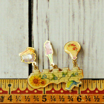 vintage bird flower gardener gardening gold tone brooch pin - $7.91