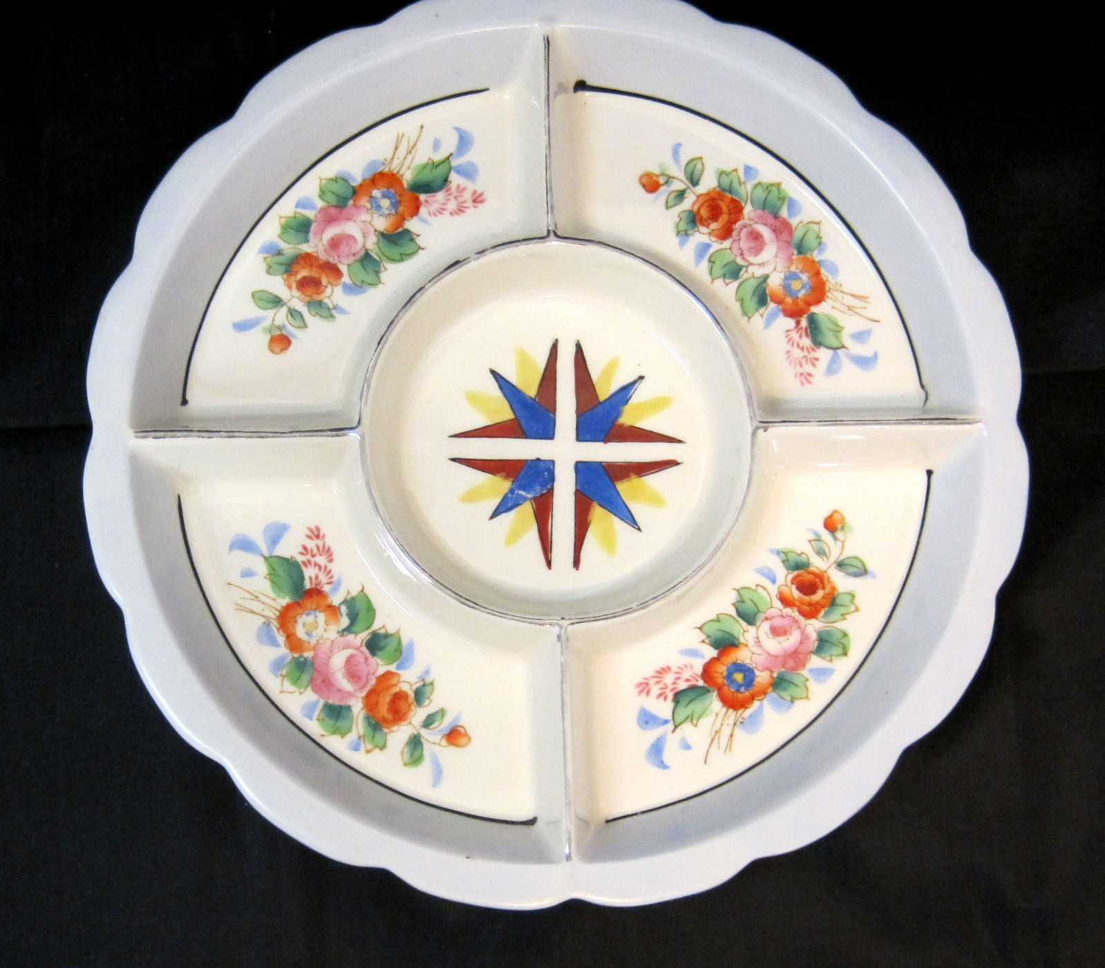Mid-Century Divided Deep Dish Bowl Serving Snack Tray Japan Flower Design White