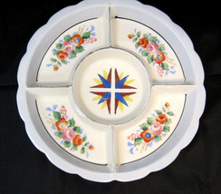 Mid-Century Divided Deep Dish Bowl Serving Snack Tray Japan Flower Desig... - $28.91