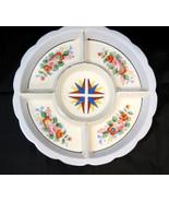 Mid-Century Divided Deep Dish Bowl Serving Snack Tray Japan Flower Desig... - $28.91