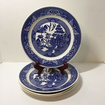 "4 Dinner Plates Blue Willow Royal China 10"" - $29.02"