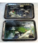 Enesco Handpainted Oriental Black Lacquer Tray Set - $18.00