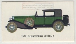 1929 Duesenberg Model J  Car Auto Vintage Trade Ad Card - $7.83