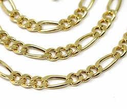 """18K GOLD FIGARO GOURMETTE CHAIN 4 MM WIDTH, 24"""", ALTERNATE 3+1 NECKLACE  image 2"""