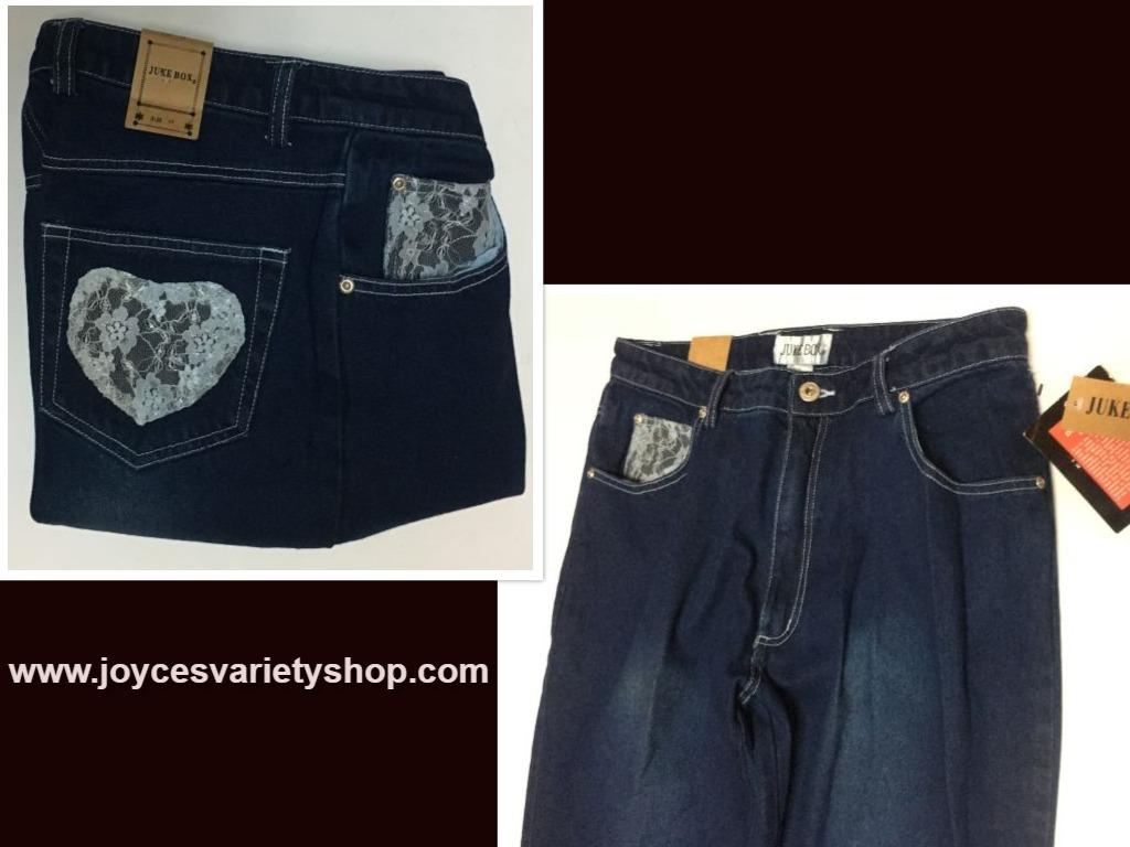 Juke Box Dark Indigo Denim Jeans Sz 11 Blue Lace Hearts NWT