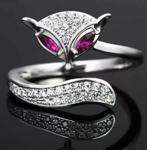 925 sterling silver Red-Eyed Fox Animal Adjustable Ring [RNG-10A] - $14.87