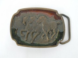 Brass Three Horses Galloping Red and Green Enameled Belt Buckle By Kolea... - $11.87